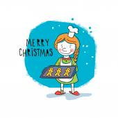 Girl holding Christmas cookies. Vector illustration — Stock vektor