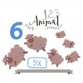 Children alphabet of animals and figures. Number six. Vector illustration. — Stock Vector