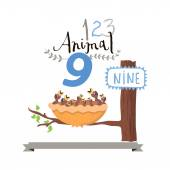 Children alphabet of animals and figures. Number nine. Vector illustration. — Stock Vector