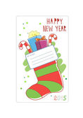 Cards for wishes. Christmas sock. Vector illustration. — Stock Vector