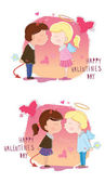 Valentine's Day. Girl and boy kisses. Vector illustration — Stock Vector