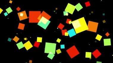 Fliegende bunte Quadrate — Stockvideo