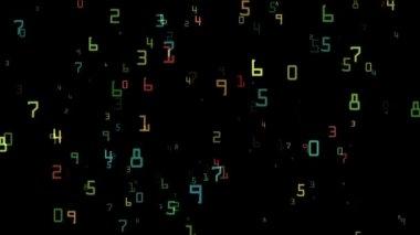 Vôo dos números coloridos — Vídeo stock