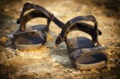 Pair of old sandals — Stock Photo