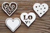 Wooden hearts. — Stock Photo