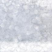 Frost patterns on window. Festive bokeh background — Стоковое фото