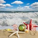 New year 2015 sign with seashells, starfish and christmas ball on a beach sand — Stock Photo #60597743
