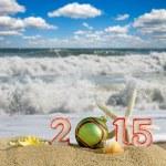 New year 2015 sign with seashells, starfish and christmas ball on a beach sand — Stock Photo #60597751