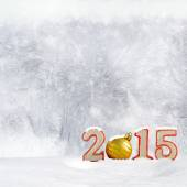 Christmas background - New year 2015 sign with snowdrift and frost patterns on window — Stock Photo