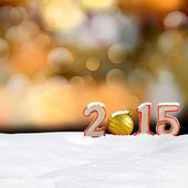 Christmas background - New year 2015 sign with snowdrift and abstract bokeh lights — Stock Photo