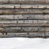 Snow drift on wood boards with blank space — Stock Photo