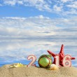 New year 2016 sign on a beach sand with sea shells, starfish and christmas ball — Stok fotoğraf #70637891