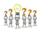 Little sketchy little sketchy man with tie and glasses - glowing light bulb and orange question marks — Stock Photo