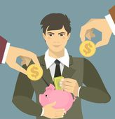 Man lays down the money in a piggy bank — Stock Vector