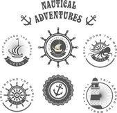 Vintage badges sea — Stock Vector