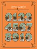 レトロな数字のセット — ストックベクタ