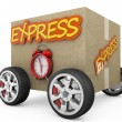 Cardboard box with wheels - express concept — Stock Photo #57677587