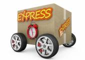 Cardboard box with wheels - express concept — Stock Photo