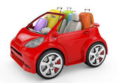 Small and cute red trip car on white background — Stock Photo