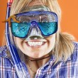 woman with scuba mask,  snorkel and starfish — Stockfoto #67632935