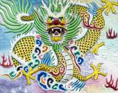 Chinese Dragon High Relief and Wall Painting — Stock Photo