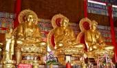 Three Golden Statue of Buddha — Stock Photo