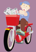 Newspaper Boy Rides The Bicycle — Stock Vector