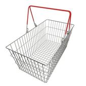 Empty basket with red rubberized handles — Stock Photo