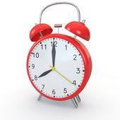 Despertador vermelho sobre um fundo isolado — Fotografia Stock