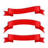 Set of three red curved ribbons — Stock Vector