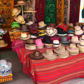 Hats at Souvenir and Handicraft Shop in Copacabana, Bolivia — Stock Photo
