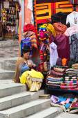 Woman at Souvenir and Handicraft Stand in La Paz, Bolivia — Stock Photo
