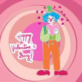 Valentine clown — Stock Photo