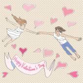 Valentine flying — Stock Photo