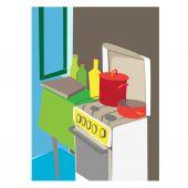 Interior de cozinha dos desenhos animados — Fotografia Stock