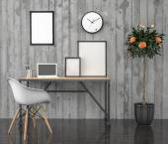 Poster mock Up, work desktop, with laptop, 3D illustration — Stock Photo