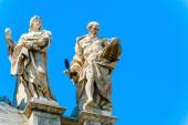 Statues at the top of Basilica of Saint John Lateran in Rome, It — Stock Photo