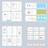 Collections: Set of colorful and responsive UI elements for website and print templates — Stock Vector