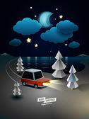 Winter Landscape with car — Stock Vector