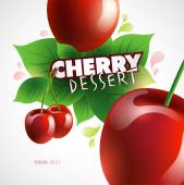 Cherry dessert background — Stockvector