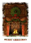 Fireplace decorated for Christmas, 3d CG — Stock Photo