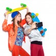 Two young naughty girls having fun. Lifestyle — Stock Photo #58270849