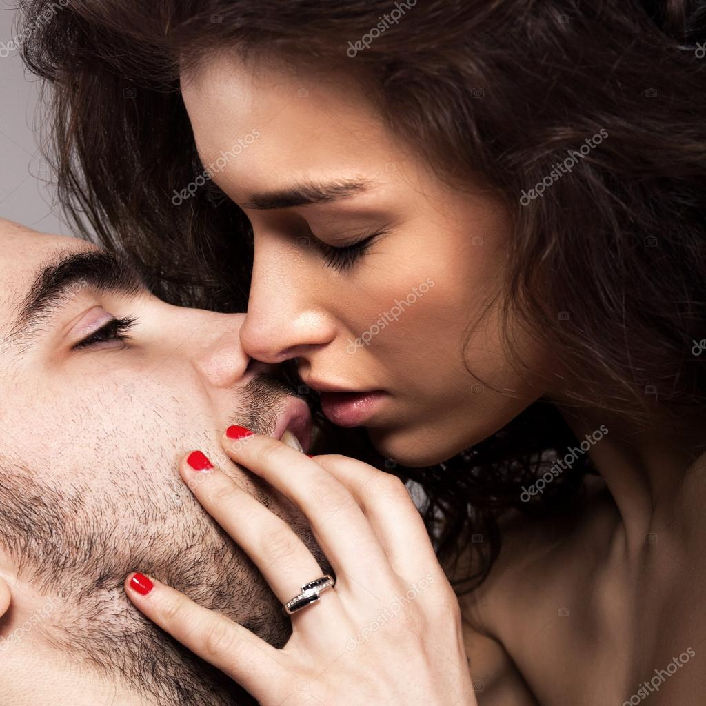 Stock Photo Romantic Couple Touching And Kissing