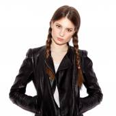 Woman with pigtails in black leather jacket — Stock Photo