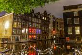 City centre of Amsterdam and Red Light District area — Stock Photo