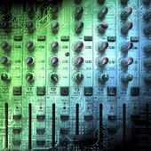 Audio mixing console closeup — Stock Photo
