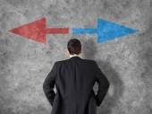 Decision making concept - businessman making decisions — Stock Photo