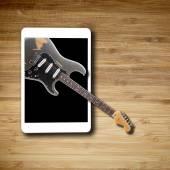 Concepto de la música de la tableta con pantalla en blanco — Foto de Stock