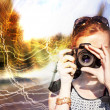 Girl with the camera — Stock Photo #69783991