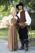 Couple in pirate style — Stock Photo